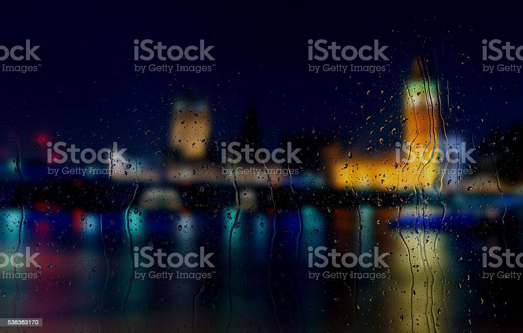 Abstract blurry background: view through the window London by night stock photo