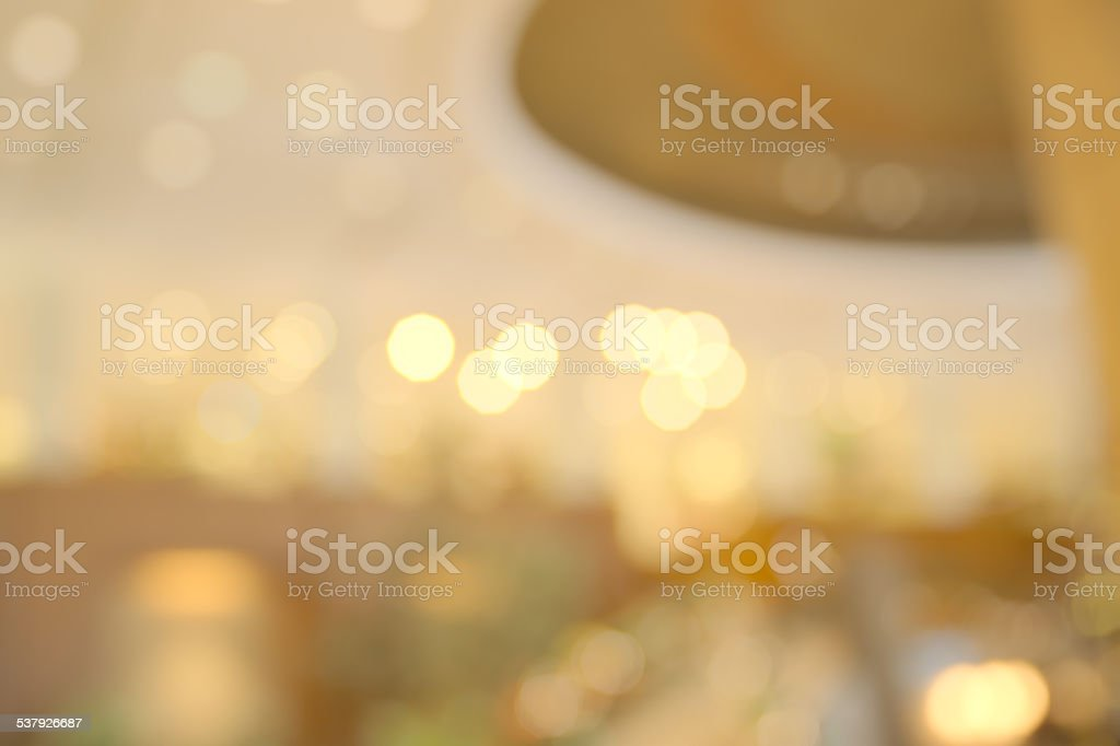 Abstract blurry hotel lobby decorated for chirstmas stock photo