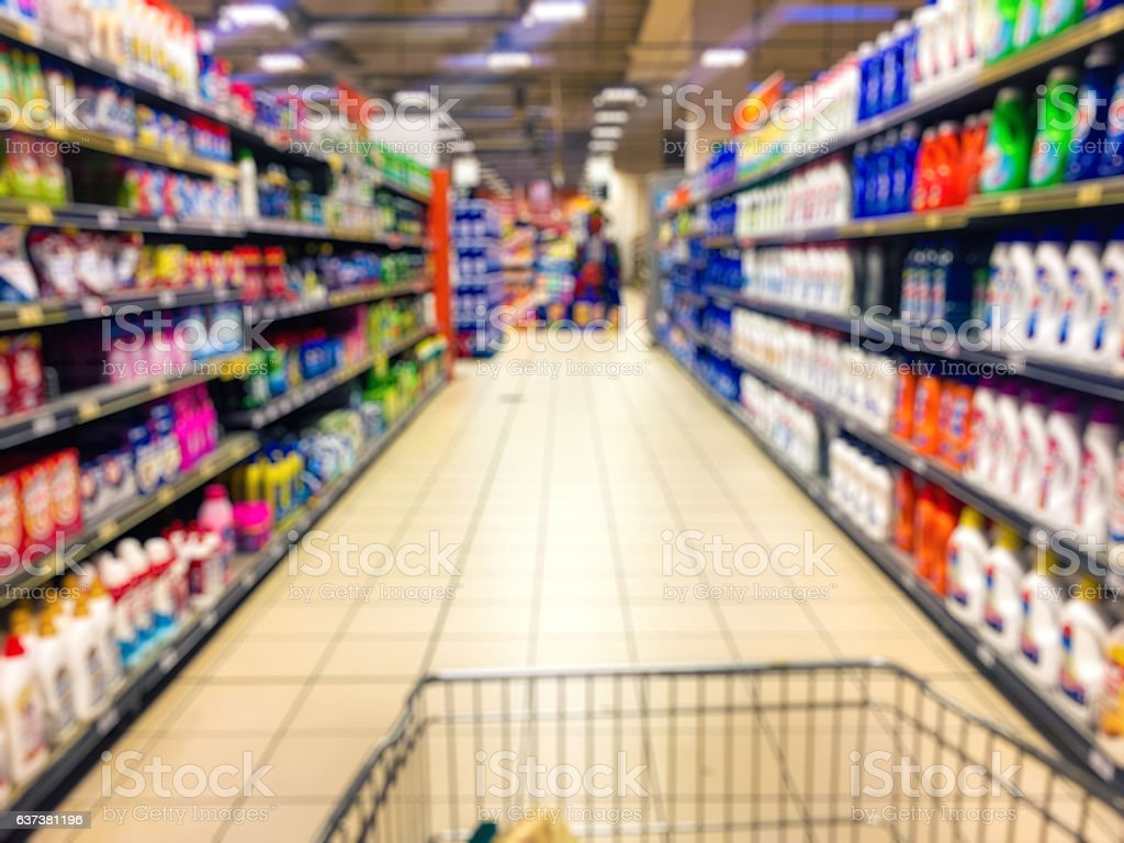 Abstract blurry supermarket interior retail and shopping mall stock photo
