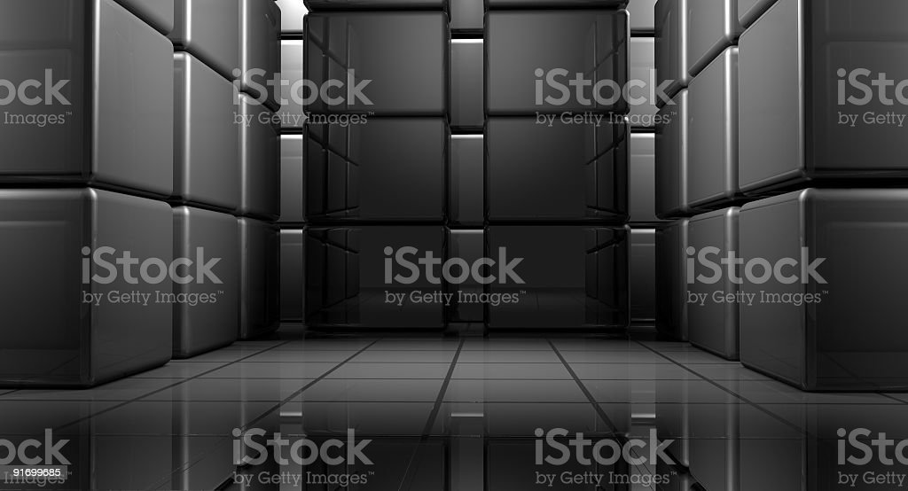 Abstract box room - modern architecture space stock photo