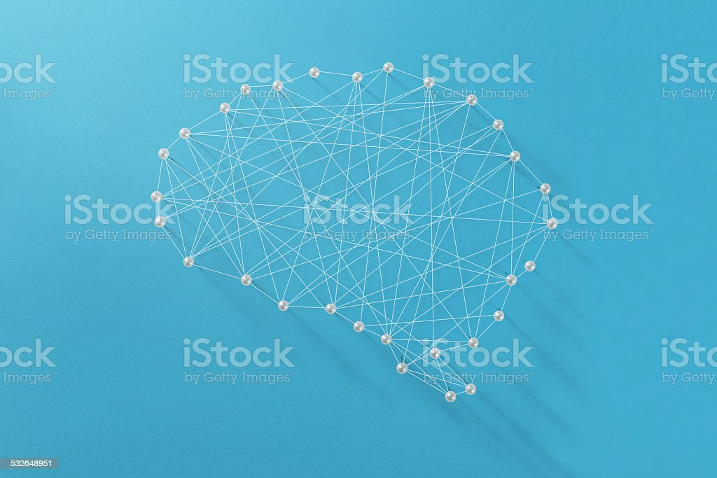 Abstract brain outline made by strings and pins stock photo