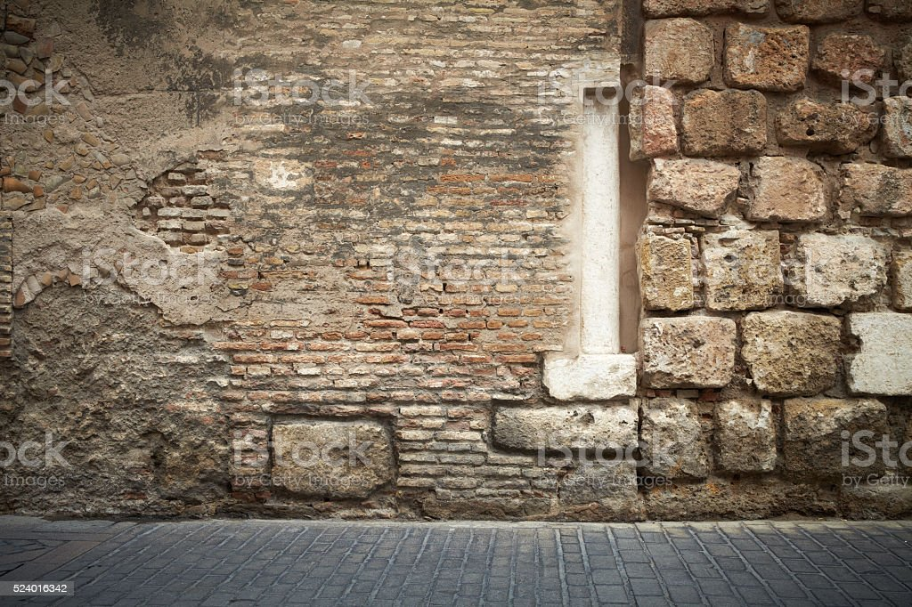 Abstract brick wall column stock photo