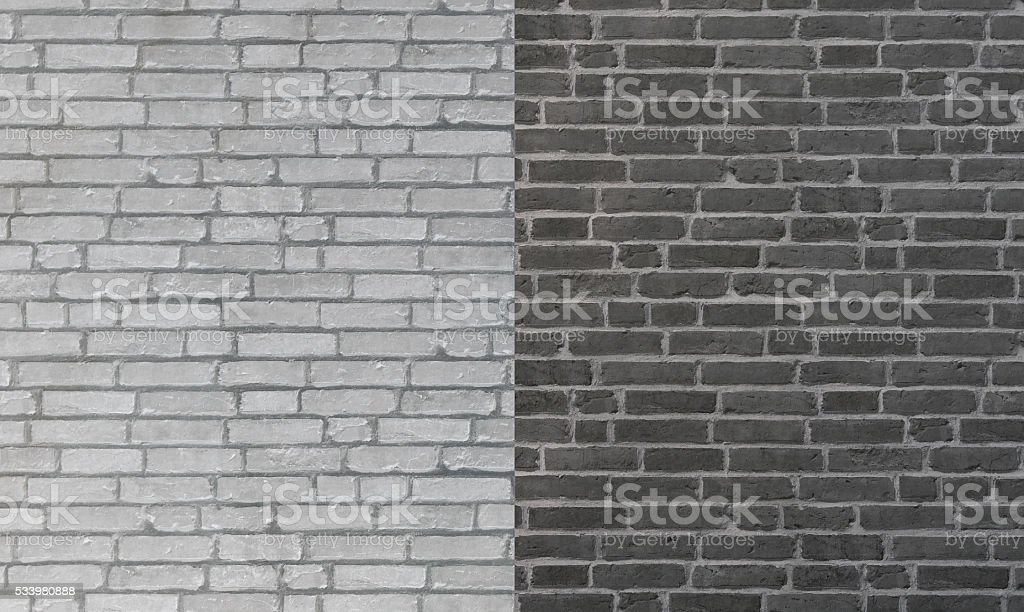 Abstract brick wall in back and white, opposite conceptual stock photo