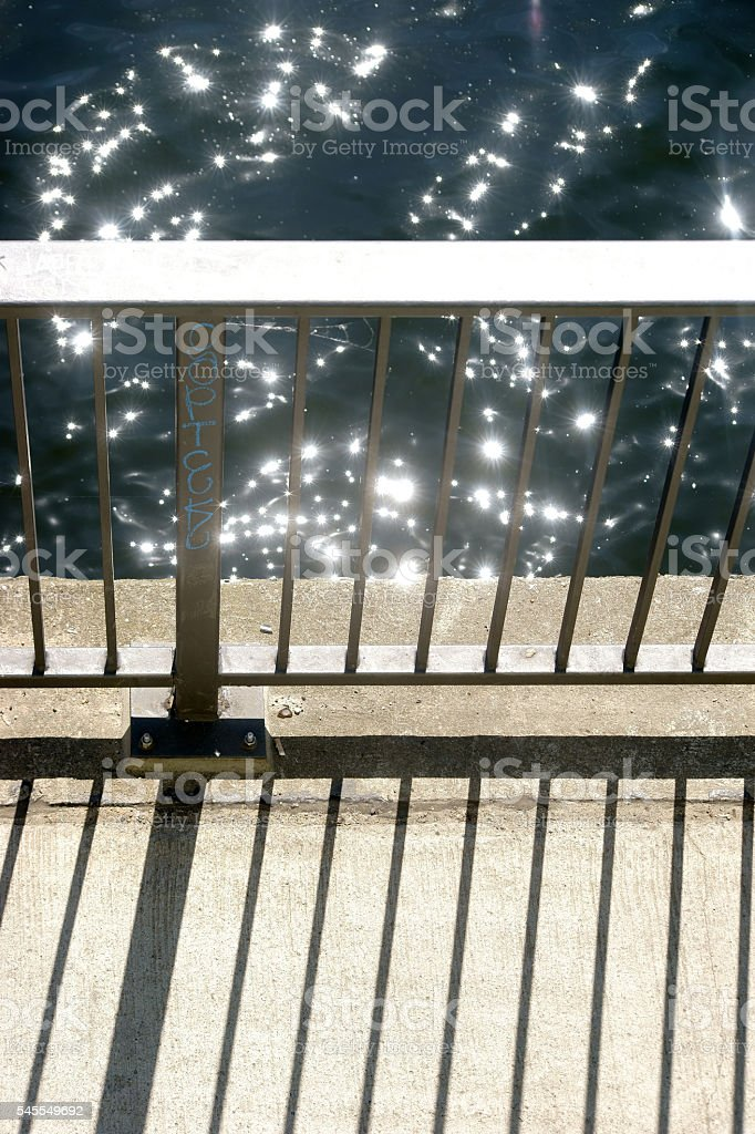 Abstract bridge railing stock photo