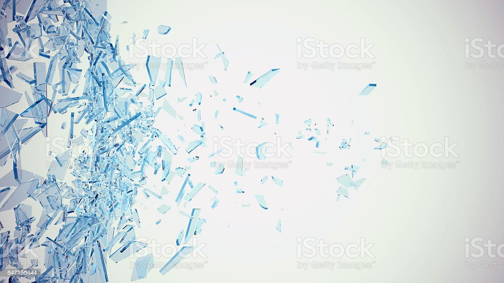 Abstract broken blue glass into pieces isolated on white background stock photo