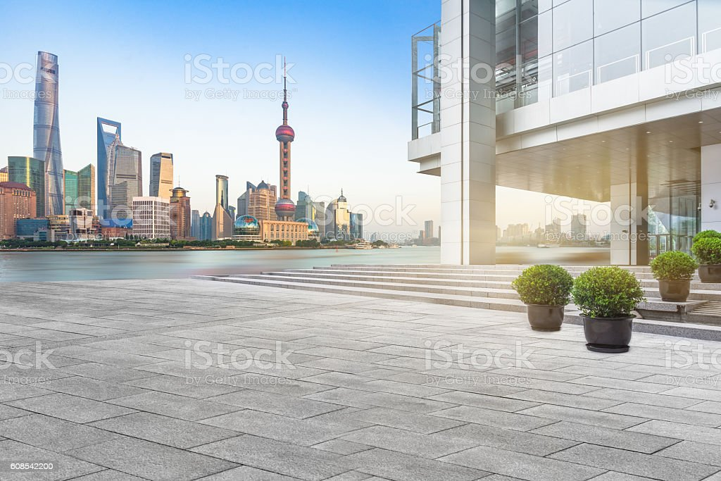 abstract building wall with city skyline background stock photo