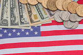 Abstract business background - us flag and cent coins, nationalism