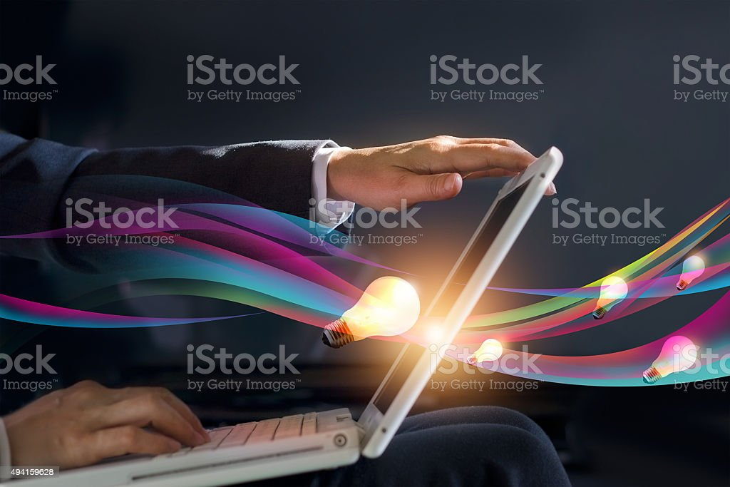 abstract business man open laptop geting gush creative idea stock photo