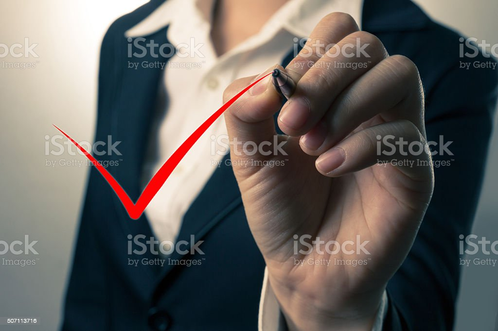 Abstract businesswoman writing on the screen. stock photo