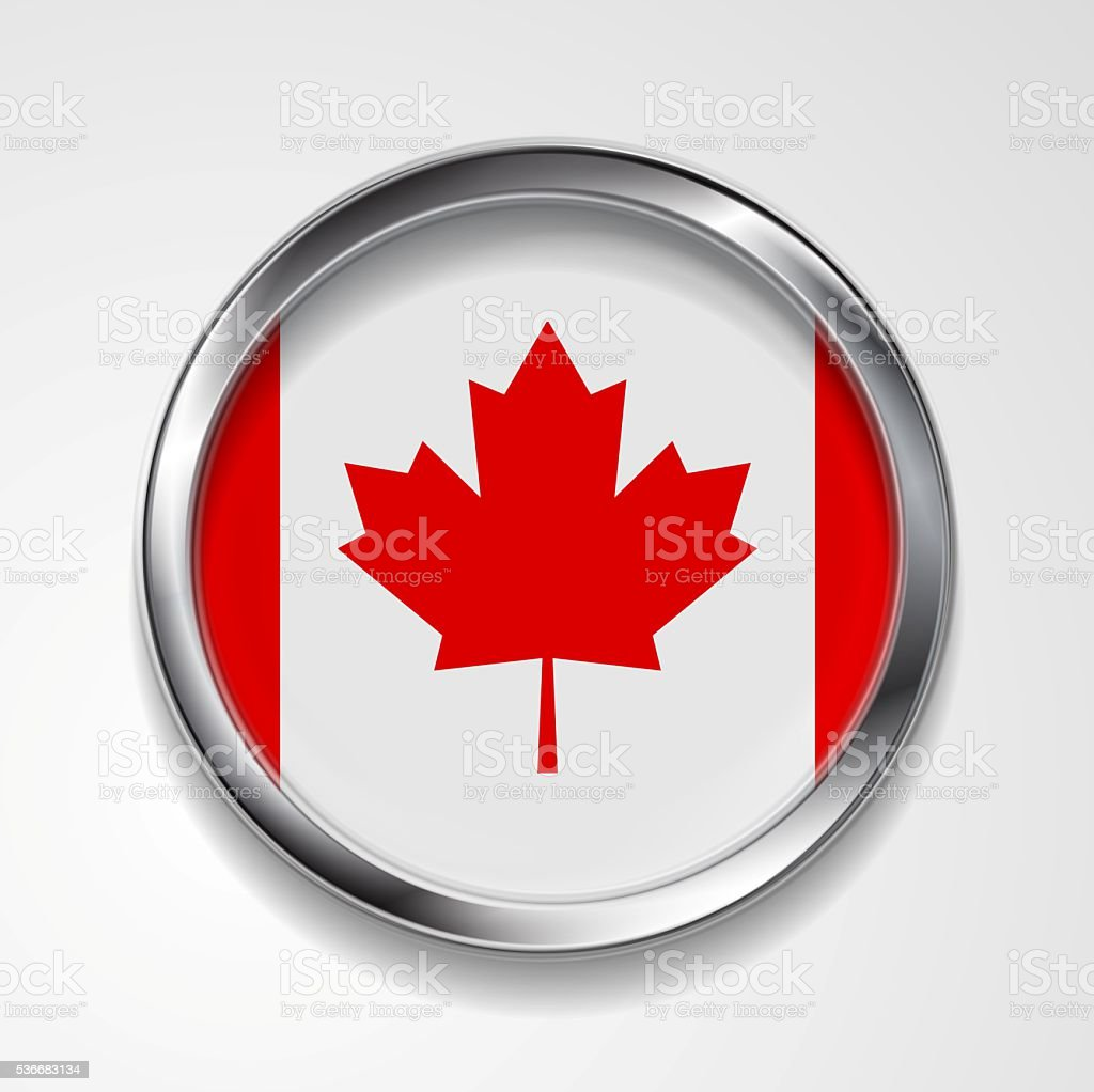 Abstract button with metallic frame. Canadian flag stock photo