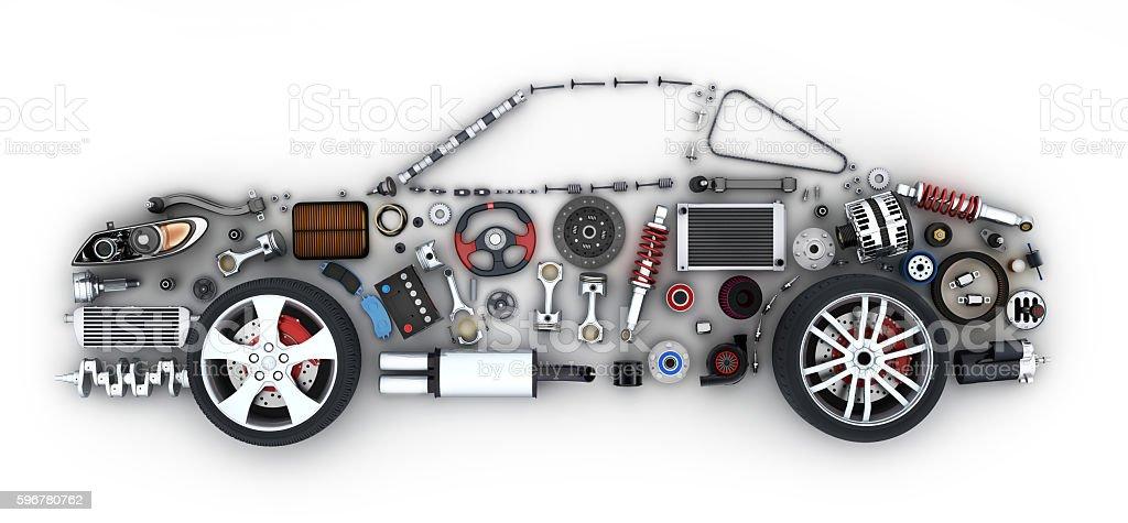 Abstract car and many vehicles parts stock photo