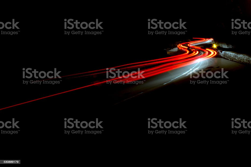 abstract car lights at night stock photo
