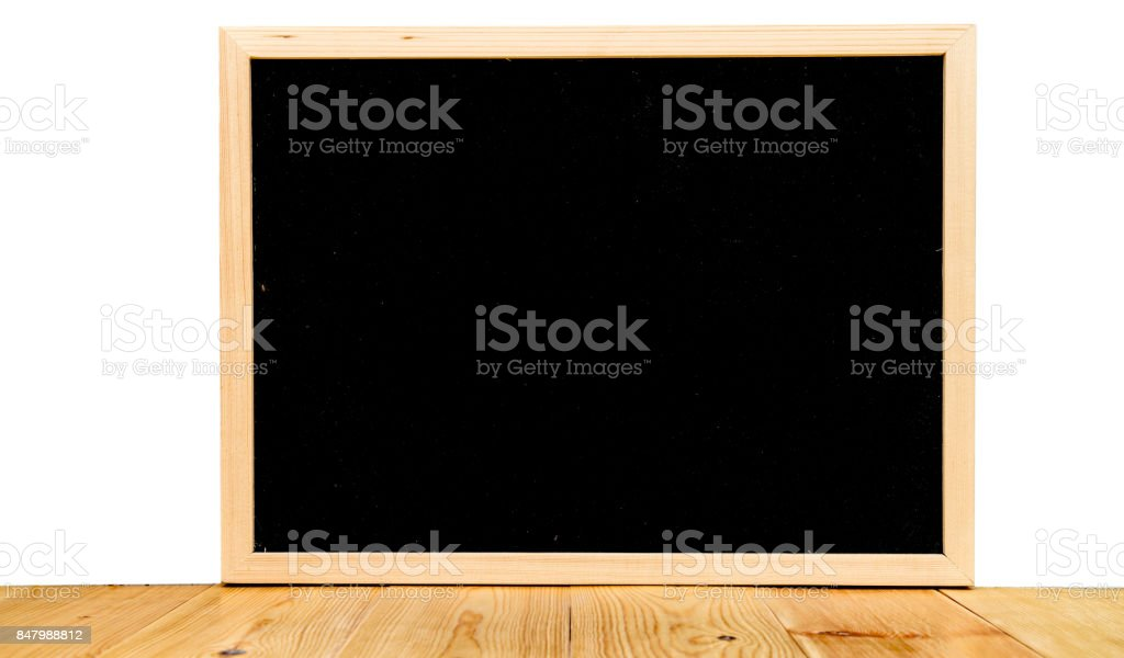 Abstract chalk blackboard with wood border frame on cement polish wall loft style , ready used as background for add text or graphic stock photo