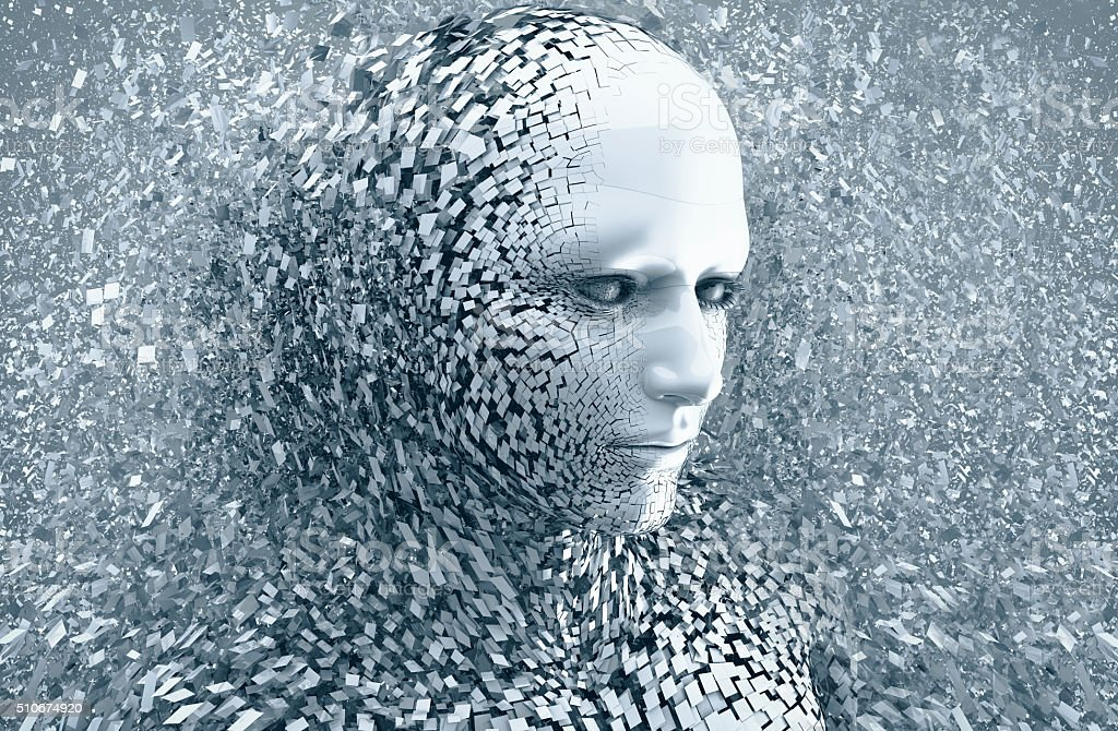 abstract character shattered into pieces stock photo