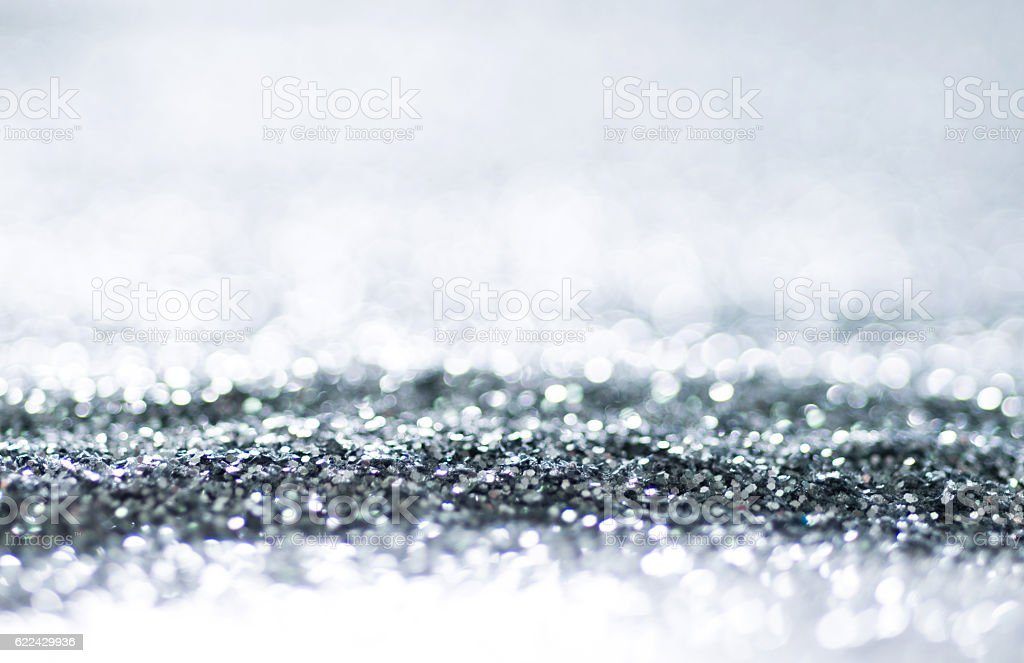Abstract Christmas background with silver lights stock photo