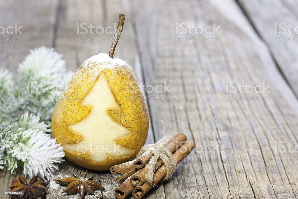 Abstract christmas pear with green tree stock photo