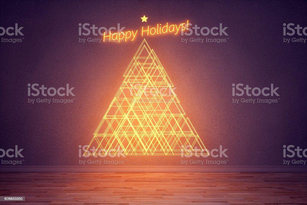 Abstract christmas tree at night stock photo