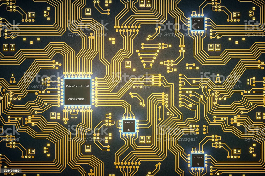 Abstract Circuit Board With Microchips stock photo