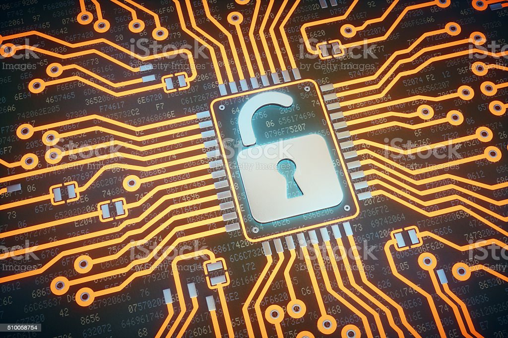 Abstract Circuit Board With Open Padlock stock photo