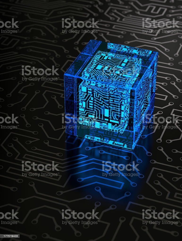 Abstract Circuit Cube royalty-free stock photo