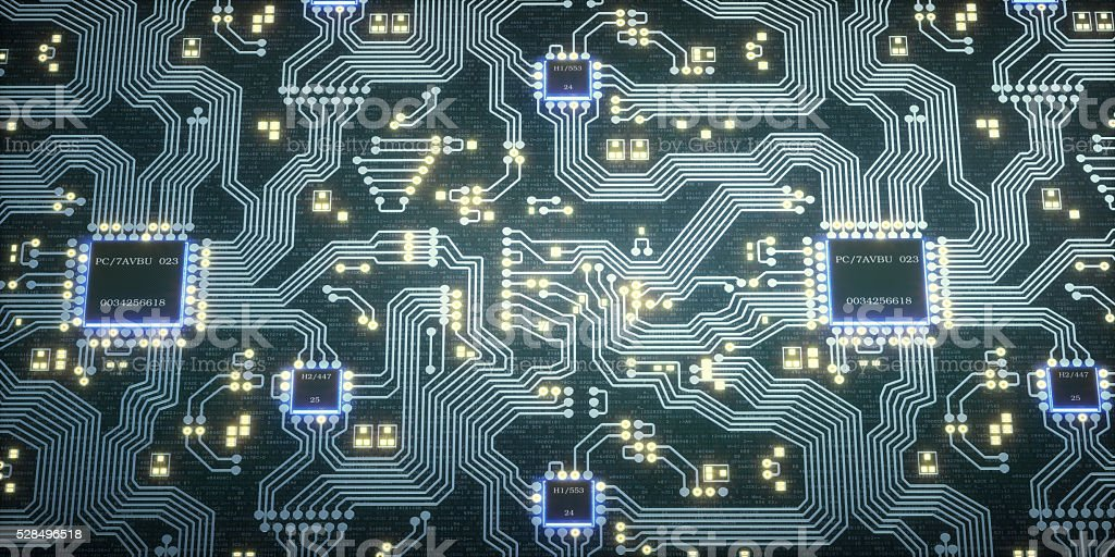 Abstract Circuit Motherboard With Microchips stock photo
