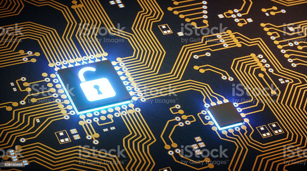 Abstract Circuit With Microchip Lock stock photo