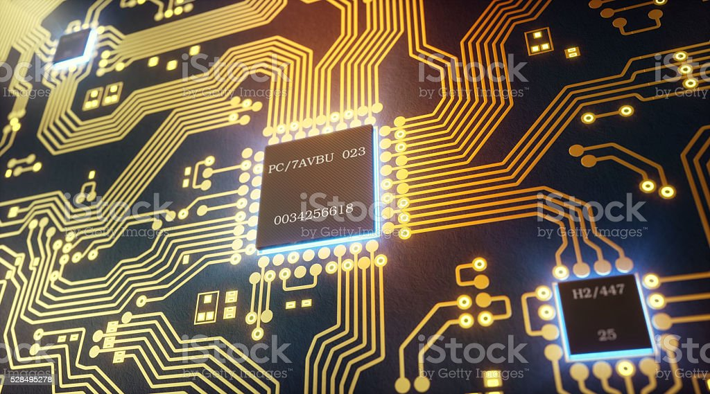 Abstract Circuit With Microchips Closeup stock photo