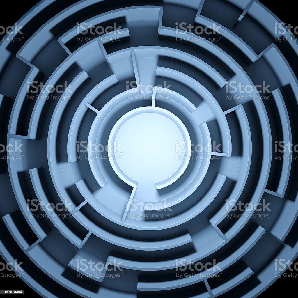 Abstract Circular Blue Maze / Labyrinth royalty-free stock photo