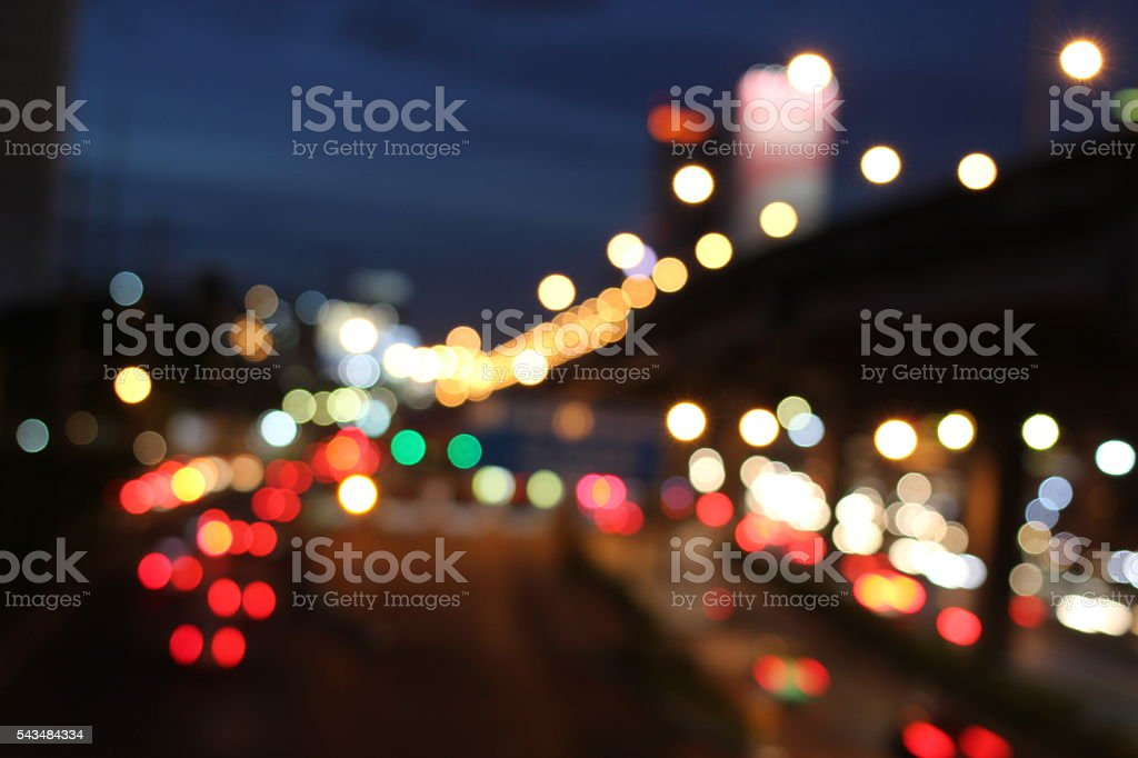 Abstract circular bokeh motion lens blur backround of city stock photo