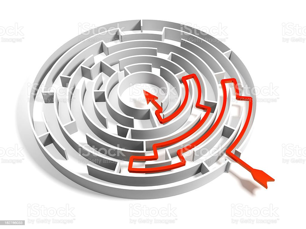 Abstract Circular Maze Puzzle whit Solution royalty-free stock photo