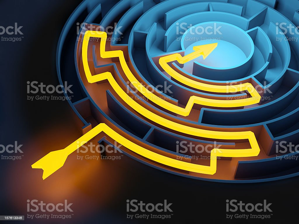Abstract Circular Maze with Glowing Solution Path royalty-free stock photo