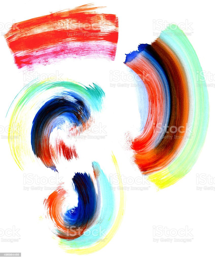 Abstract circular watercolor brush strokes in many colors. stock photo