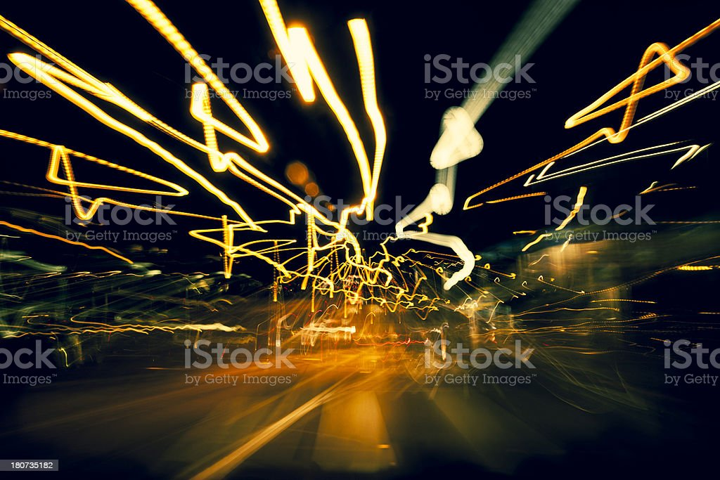 Abstract city light trails, Amsterdam royalty-free stock photo