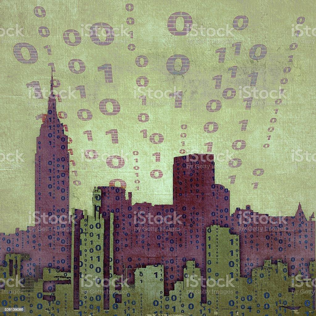 Abstract city skyline with binary code stock photo