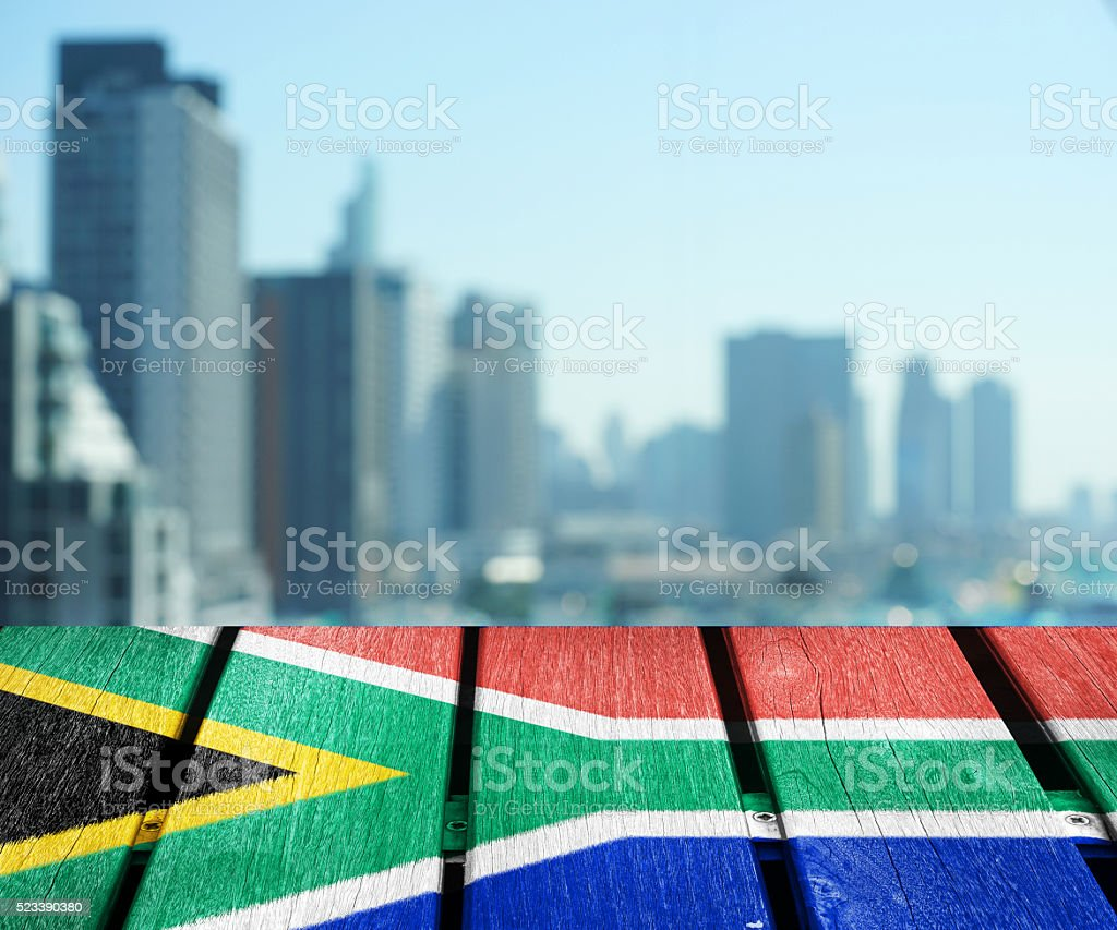 abstract cityscape background with flag stock photo