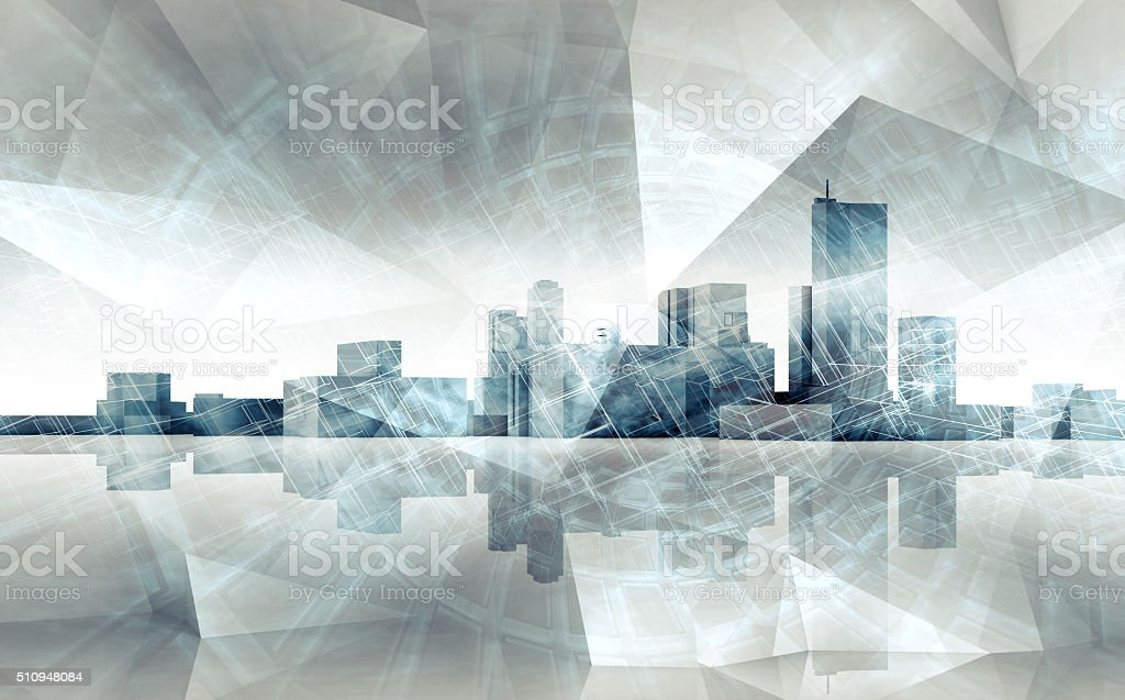 Abstract cityscape skyline. Blue toned 3 d render stock photo