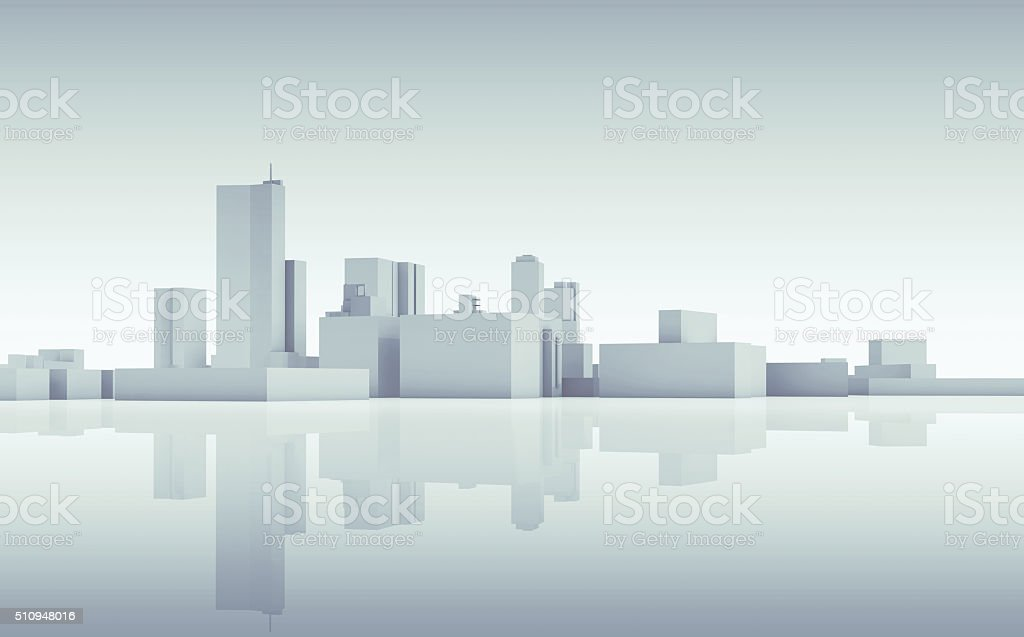 Abstract cityscape skyline. Blue toned 3d stock photo