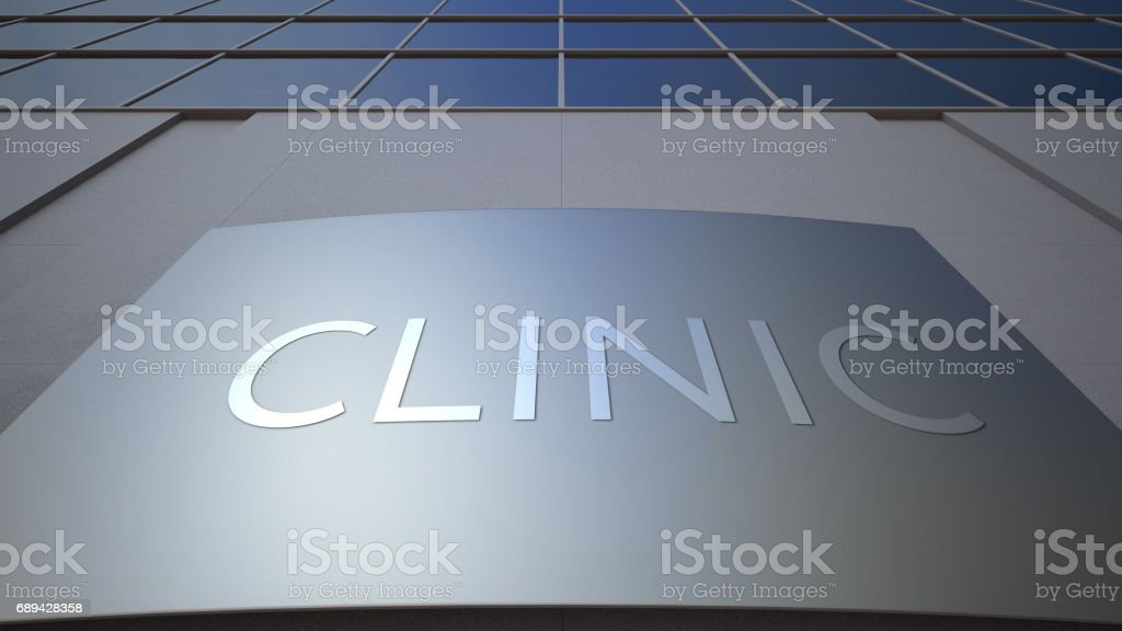 Abstract clinic signage board. Modern office building. 3D rendering stock photo