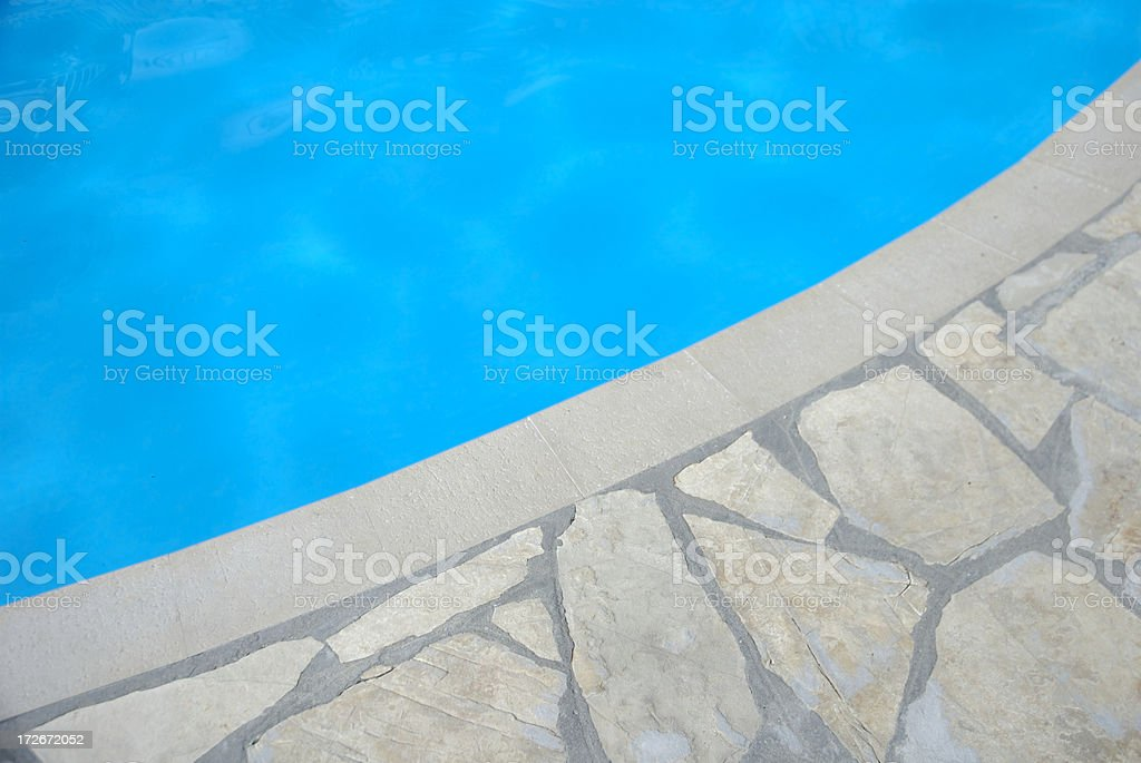 Abstract Close Up of Bright Blue Curving Swimming Pool royalty-free stock photo