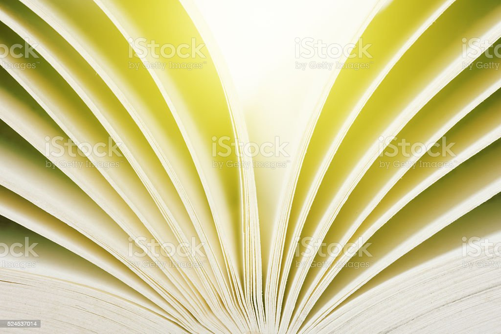 Abstract close up of pages of open book stock photo