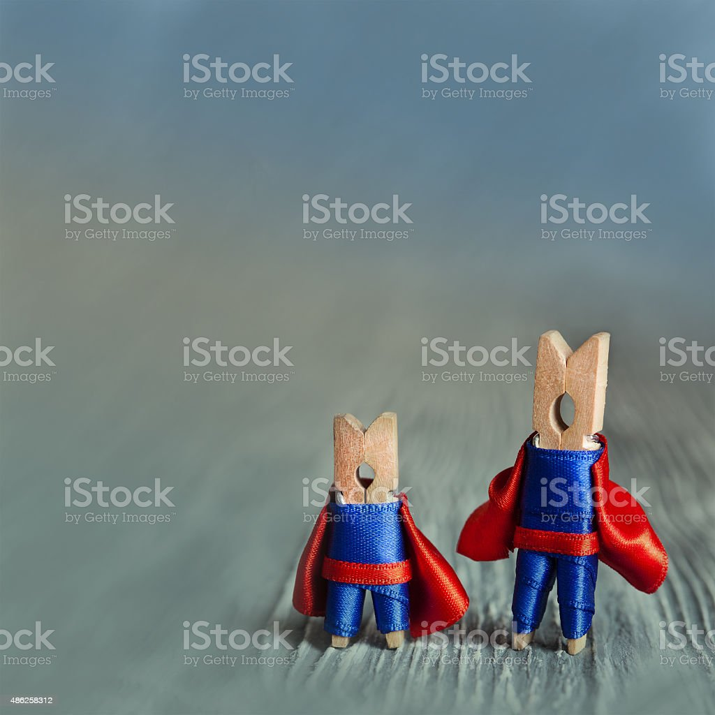 Abstract clothespin super heroes. stock photo