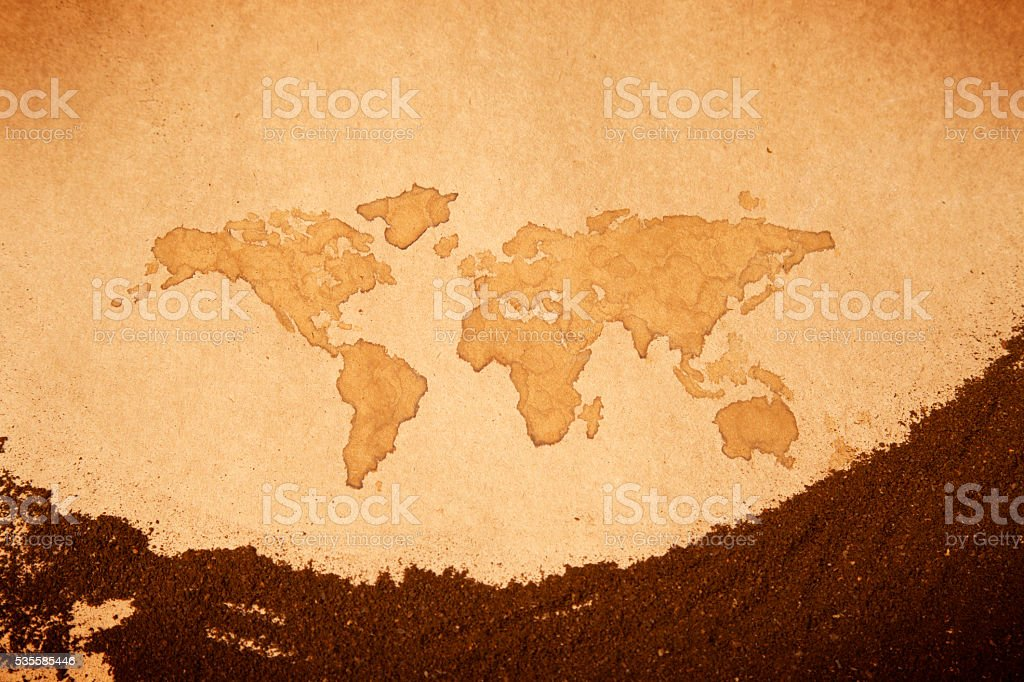 Abstract Coffee powder on Earth map painted paper royalty-free stock photo