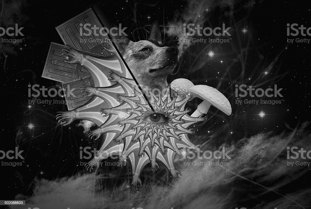 Abstract Collage Art 01 (Black and White) stock photo