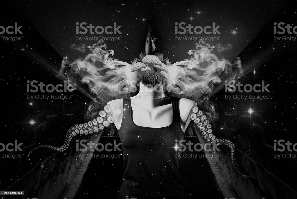 Abstract Collage Art 04 (Black and White) stock photo