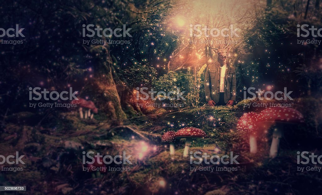 Abstract Collage Art 07 (Deerman in Forest) stock photo