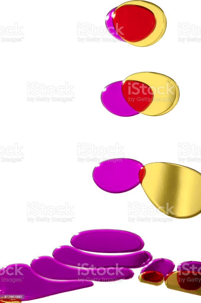 Abstract color oil drop in water,Mix color oil on white background stock photo