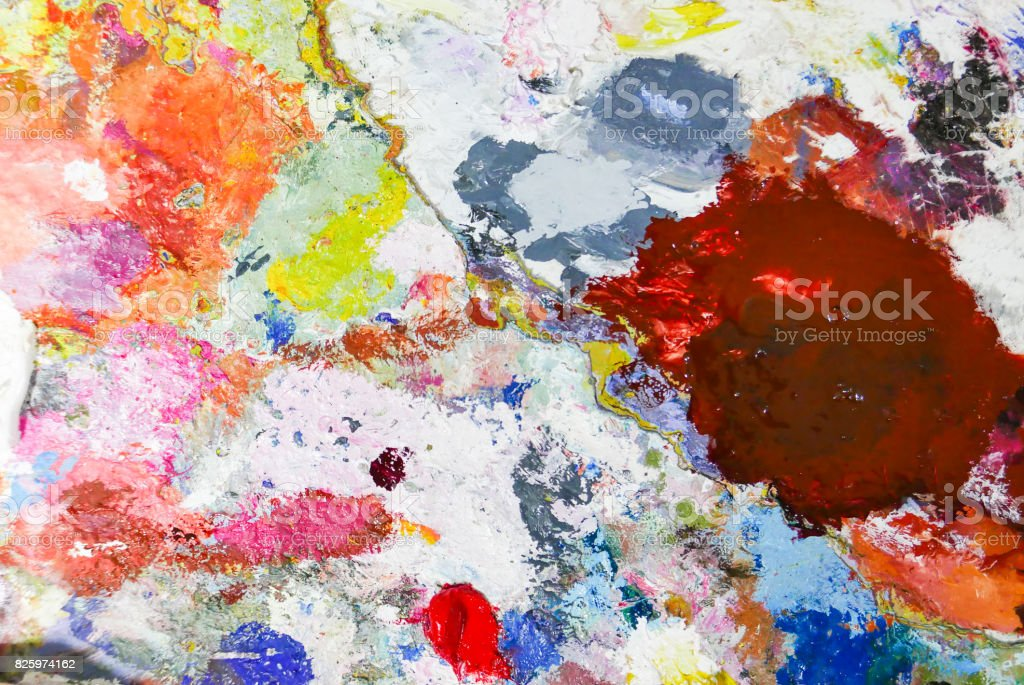 Abstract color Palette  Acrylic Oil paint Color texture. Abstract art Painting background. stock photo