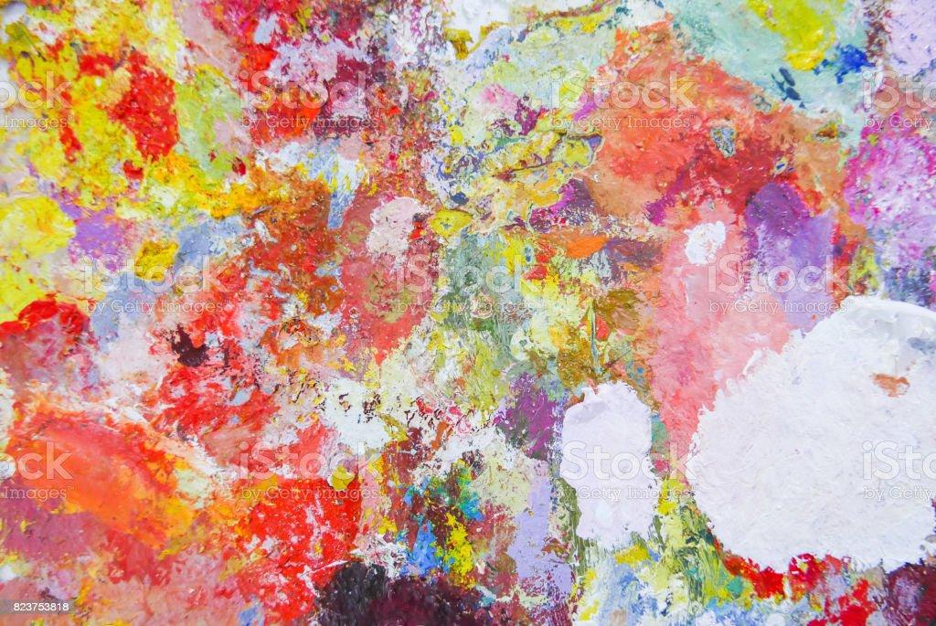 Abstract color Palette  Acrylic Oil paint Color texture. Spots of oil paint. stock photo