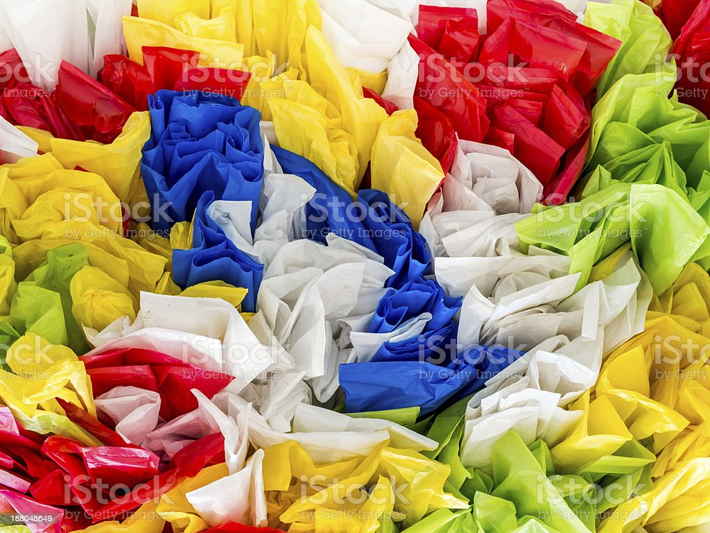 Abstract colorful disposable plastic bags royalty-free stock photo