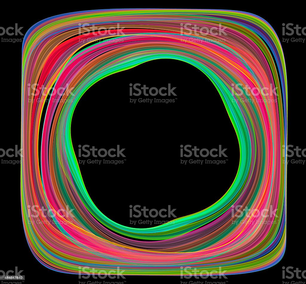 Abstract colorful frame with black background stock photo